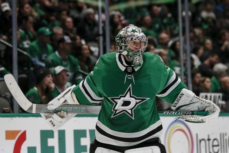 DALLAS, TX - OCTOBER 12: Dallas Stars goaltender Anton Khudobin (35) skates during a timeout during the game between the Dallas Stars and the Washington Capitals on October 12, 2019 at the American Airlines Center in Dallas, Texas. (Photo by Matthew Pearce/Icon Sportswire via Getty Images)