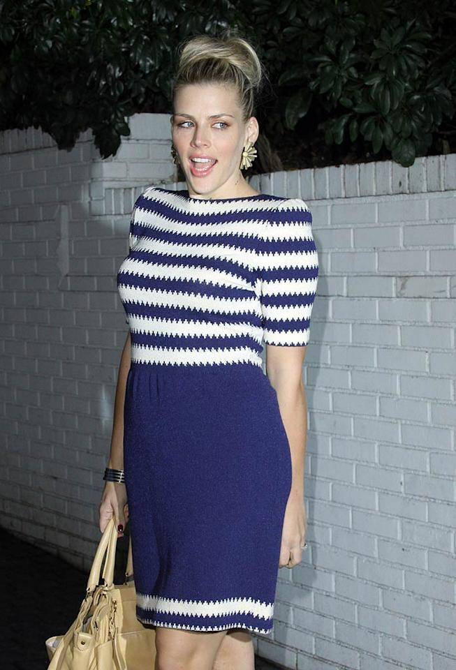 """Cougar Town's"" Busy Philipps sported bold stripes for a night on the town. Hot ... or not? Josephine Santos/<a href=""http://www.pacificcoastnews.com/"" target=""new"">PacificCoastNews.com</a> - February 23, 2011"