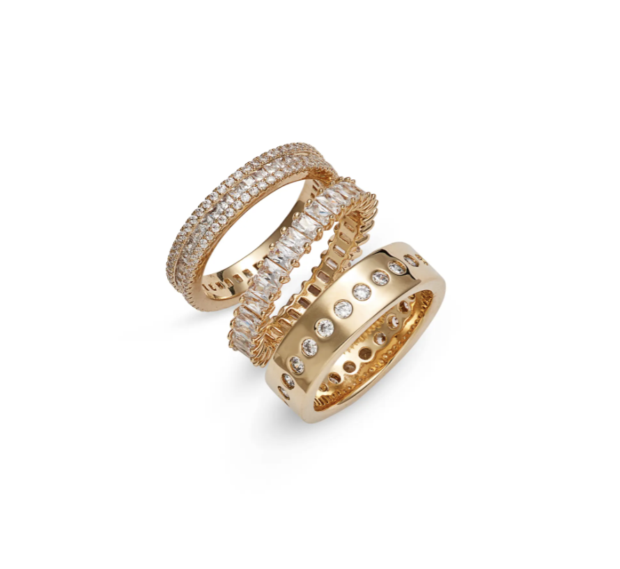 Set of 3 Cubic Zirconia Band Rings with gold bands and diamond jewels