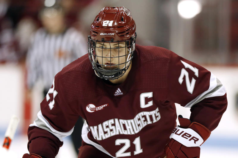 FILE - In this Nov. 1, 2019, file photo, Massachusetts' Mitchell Chaffee during an NCAA hockey game against Northeastern on Friday, in Boston. Chaffee signed with the Minnesota Wild on Tuesday, March 24, 2020. (AP Photo/Winslow Townson, File)