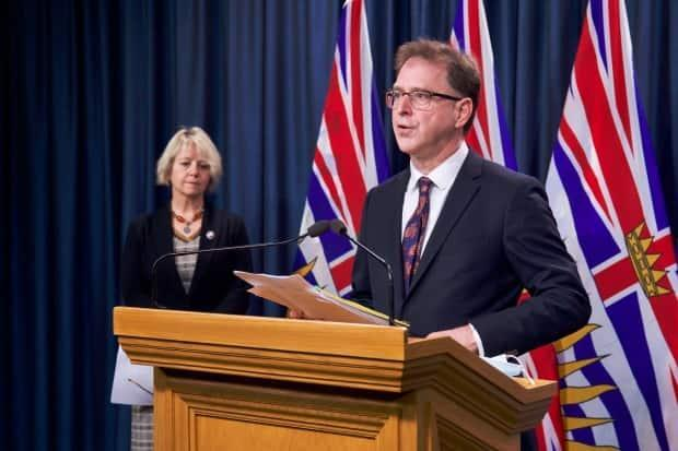 B.C. Health Minister Adrian Dix, right, and Provincial Health Officer Dr. Bonnie Henry provided an update on B.C.'s COVID-19 situation Friday.