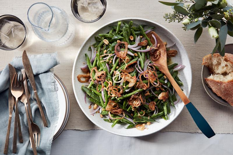 Smashing green beans to smithereens is fun. It also means you don't need to cook them.