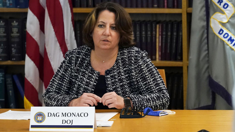 Deputy Attorney General Lisa Monaco delivers opening remarks at a meeting with federal and local law enforcement to discuss their work on the recently announced firearms trafficking strike forces, Wednesday, Aug. 4, 2021, in New York. (Richard Drew/AP Photo)