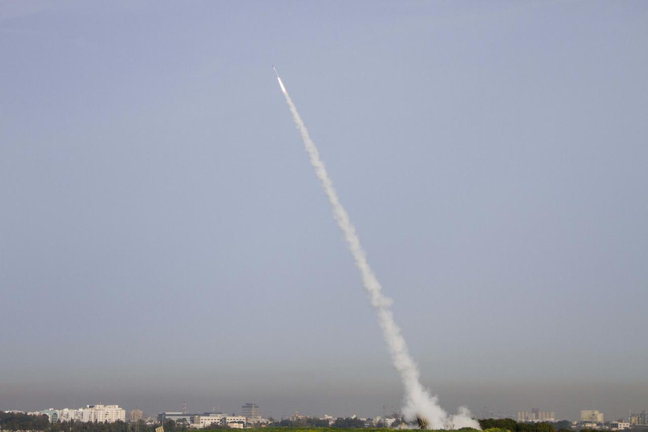 A rocket is launched from the Israeli anti-missile system known as Iron Dome in order to intercept a rocket fired by Palestinian militants from the Gaza Strip in Ashdod, Israel, Sunday, March 11, 2012. Palestinian witnesses say a militant and a 12-year-old boy have been killed in Israeli airstrikes in the Gaza Strip. The Israeli military confirmed one airstrike early Sunday and had no immediate comment on the report of a second. Israeli police say three rockets fired from Gaza landed in southern Israel overnight and Sunday. No injuries were reported. The deadliest clashes between the two sides in over a year have entered their third day showing no signs of subsiding. (AP Photo/Ariel Schalit)