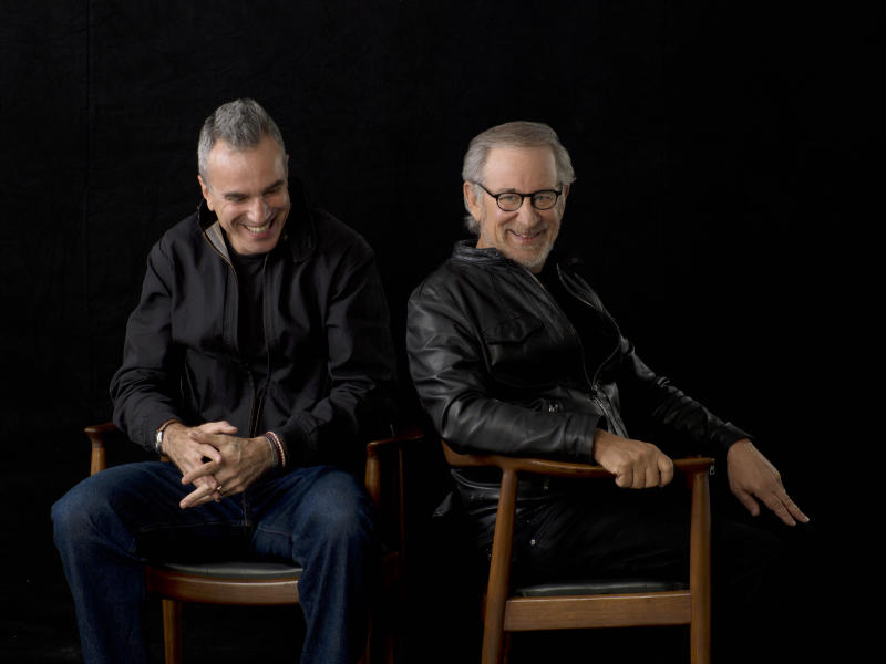 """FILE - This September 4, 2012 publicity file photo provided by DreamWorks and Twentieth Century Fox, shows actor, Daniel Day-Lewis, left, and director, Steven Spielberg, posing for a portrait in New York. Day-Lewis, who plays the 16th president in Steven Spielberg's epic film biography """"Lincoln,"""" settled on a higher, softer voice, saying it's more true to descriptions of how the man actually spoke. """"Lincoln,"""" opened in limited release Nov. 9, 2012, and expands nationwide Friday, Nov. 16. (AP Photo/DreamWorks, Twentieth Century Fox, Kevin Lynch, File)"""