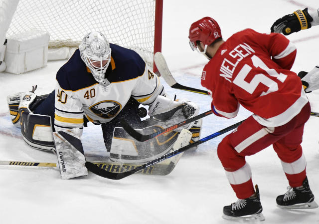 Lehner played 53 games as the starting goaltender of the Buffalo Sabres last season. He posted a record of 14-26-9 with a 3.01 GAA and .908 SV%. (AP Photo/Jose Juarez)