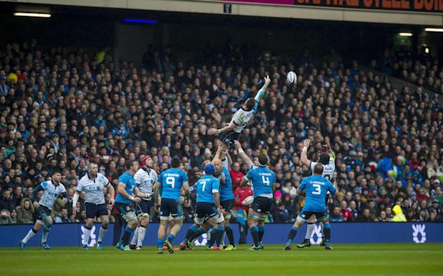 <span>Both sides have struggled with the slippery conditions at Murrayfield</span> <span>Credit: Watson/INPHO/REX/Shutterstock </span>