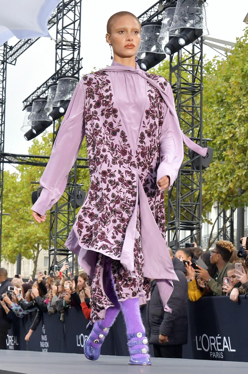 <p>Rising model Adwoa took to the catwalk in a printed lilac look. <i>[Photo: Rex]</i> </p>