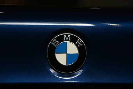 A view shows the logo on a BMW 5 series car at a dealership in Minsk