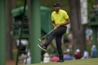 Tony Finau reacts after missing an eagle putt on the 15th hole during the second round of the Masters golf tournament on Friday, April 9, 2021, in Augusta, Ga. (AP Photo/David J. Phillip)
