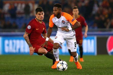 FILE PHOTO - Soccer Football - Champions League Round of 16 Second Leg - AS Roma vs Shakhtar Donetsk - Stadio Olimpico, Rome, Italy - March 13, 2018 Shakhtar Donetsk's Fred in action with Roma's Diego Perotti REUTERS/Alessandro Bianchi