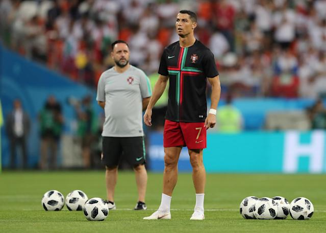 Soccer Football - World Cup - Group B - Iran vs Portugal - Mordovia Arena, Saransk, Russia - June 25, 2018 Portugal's Cristiano Ronaldo during the warm up before the match REUTERS/Ivan Alvarado