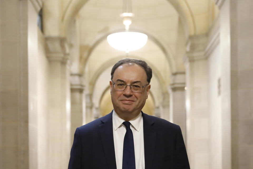 The new Governor of the Bank of England, Andrew Bailey, during a photo call on his first day inside the central bank's headquarters in London.