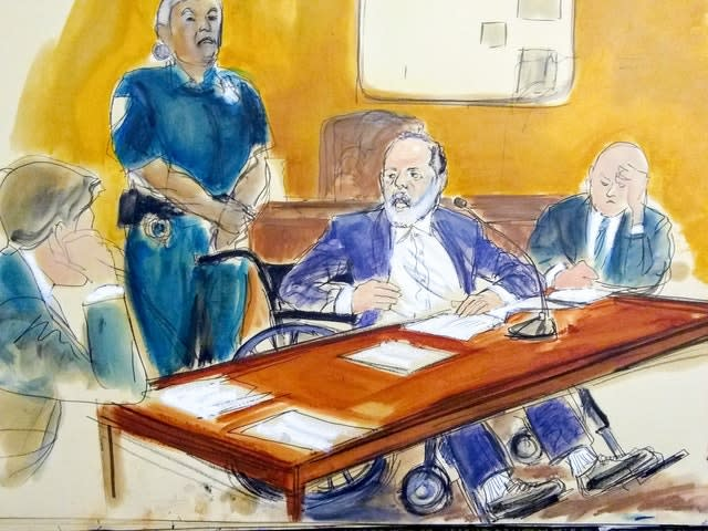 A courtroom sketch of Harvey Weinstein