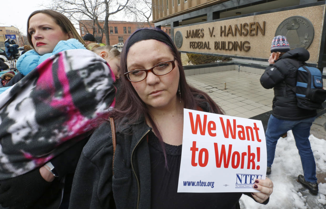 IRS worker Christine Helquist at a rally at the Federal Building, Jan., 10, 2019, in Ogden, Utah. (Photo: Rick Bowmer/AP)