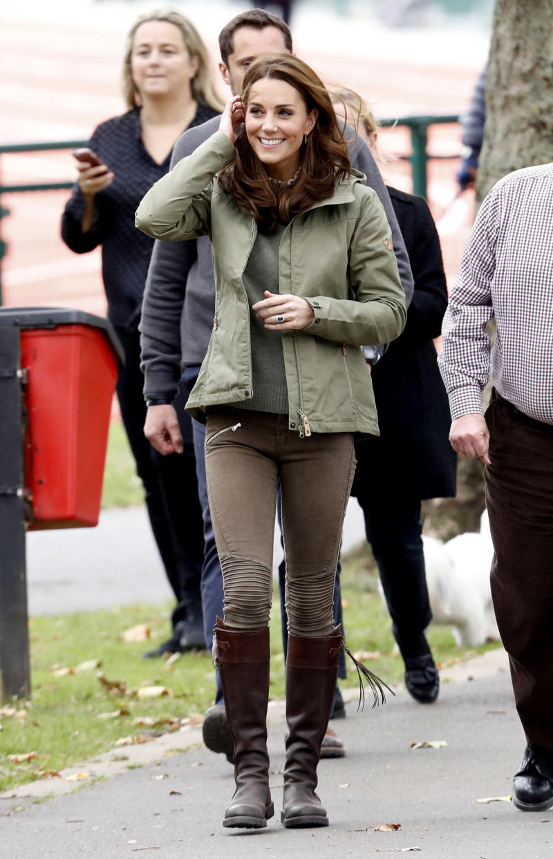 The Duchess of Cambridge during a visit to Sayers Croft Forest School and Wildlife Garden on October 02, 2018. (Getty Images)