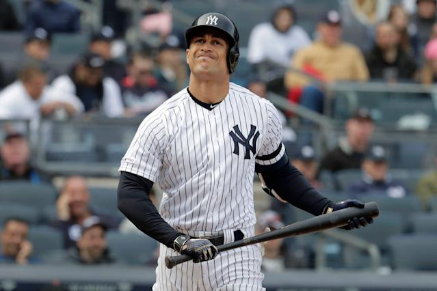 It's a very strange list of players who have and haven't homered for the Yankees in 2019. Giancarlo Stanton is among those who haven't. (AP)