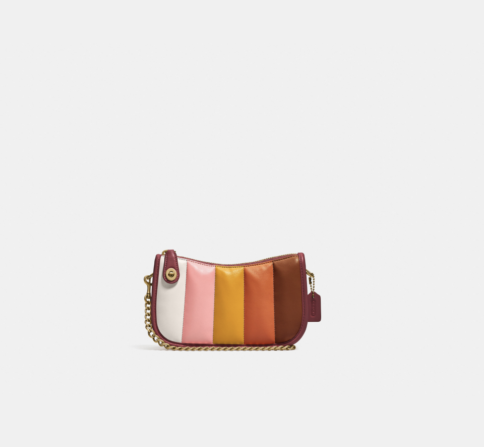 """<p><strong>Coach</strong></p><p>coach.com</p><p><a href=""""https://go.redirectingat.com?id=74968X1596630&url=https%3A%2F%2Fwww.coach.com%2Fproducts%2Fswinger-20-with-quilting%2FC3490.html%3Ffrp%3DC3490%2BB4MZI&sref=https%3A%2F%2Fwww.elle.com%2Ffashion%2Fshopping%2Fg37779639%2Fcoach-sale-bags-2021%2F"""" rel=""""nofollow noopener"""" target=""""_blank"""" data-ylk=""""slk:Shop Now"""" class=""""link rapid-noclick-resp"""">Shop Now</a></p><p><strong><del>$295</del> $221.25 (20% off with code SAVENOW)</strong></p><p>This sale find has all the necessities we look for in a shoulder bag. But it's the seventies color palette and soft quilted leather that has us sold. </p>"""
