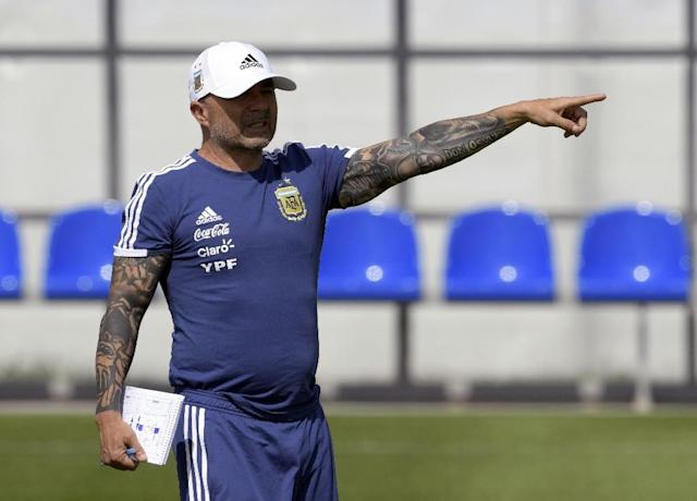 Jorge Sampaoli's job is likely on the line when Argentina meet Nigeria in their final World Cup group game (AFP Photo/JUAN MABROMATA)