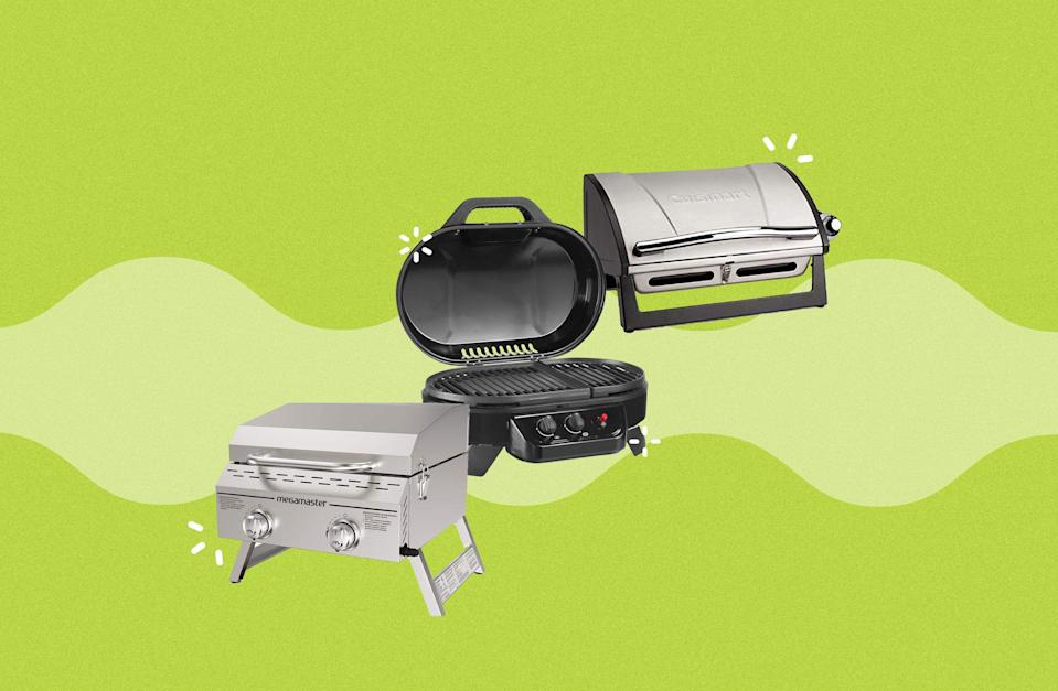 """<p>Grilling season is upon us, which means camping, cookouts, and picnics are all in season too. To do it right, you'll want a portable grill that allows you to sear steaks, grill veggies, and get the perfect hot dogs every time. We suggest a gas grill for this sort of thing since they're easy to use and efficient, but keep in mind that means you'll have to pick up a propane tank compatible with your appliance before firing up the grill. Once you check that off the shopping list, you'll be well on your merry way to grilling up a storm. </p><p>Need more grilling help? Try these <a href=""""https://www.delish.com/cooking/g32257577/best-grilling-accessories/"""" rel=""""nofollow noopener"""" target=""""_blank"""" data-ylk=""""slk:grilling accessories"""" class=""""link rapid-noclick-resp"""">grilling accessories</a>.</p>"""
