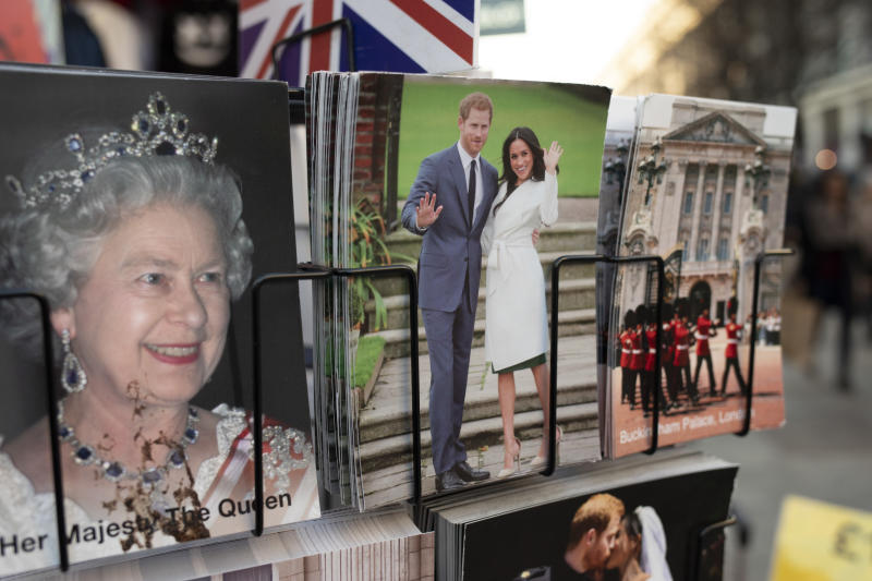 Harry and Meghan postcards next to a postcard of Queen Elizabeth II for sale as if they are waving goodbye to the UK on a rack on 21st January 2020 in London, England, United Kingdom. Earlier it had been reported that after recent controversy and discussion amongst members of the royal family, that Prince Harry had flown out of the UK to be with his wife Meghan and their family. Prince Harry and Markle announced recently that they will 'step back' from their roles as senior royals to share their time between the UK and Canada, and to continue both their charity work and continue to a degree their royal responsibilities. (photo by Mike Kemp/In Pictures via Getty Images)