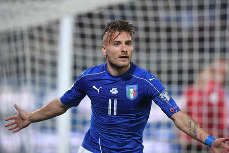 Football Soccer - Italy v Albania - World Cup 2018 Qualifiers - Group G - Renzo Barbera stadium, Palermo, Italy - 24/3/17. Italy's Ciro Immobile celebrates after scoring. REUTERS/Alberto Lingria