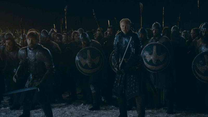 Jaime Lannister and Brienne lead the Winterfell troops on the front lines (Photo: Helen Sloan/HBO)