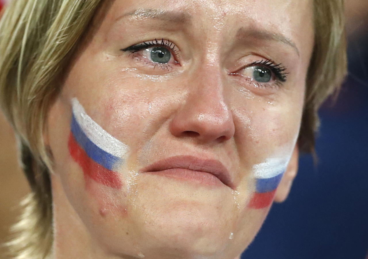 <p>A Russia's fan cries after Russia's loss in the quarterfinal match between Russia and Croatia at the 2018 soccer World Cup in the Fisht Stadium, in Sochi, Russia, Saturday, July 7, 2018. (AP Photo/Darko Bandic) </p>