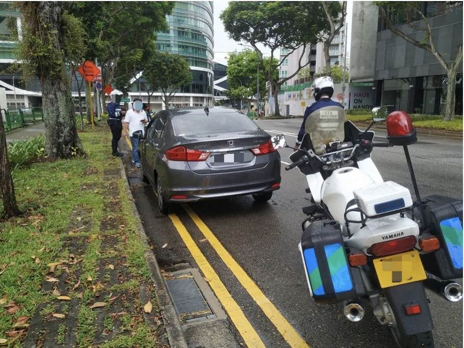 Ng's car along Handy Road during LTA enforcement operations. (PHOTO: Land Transport Authority)