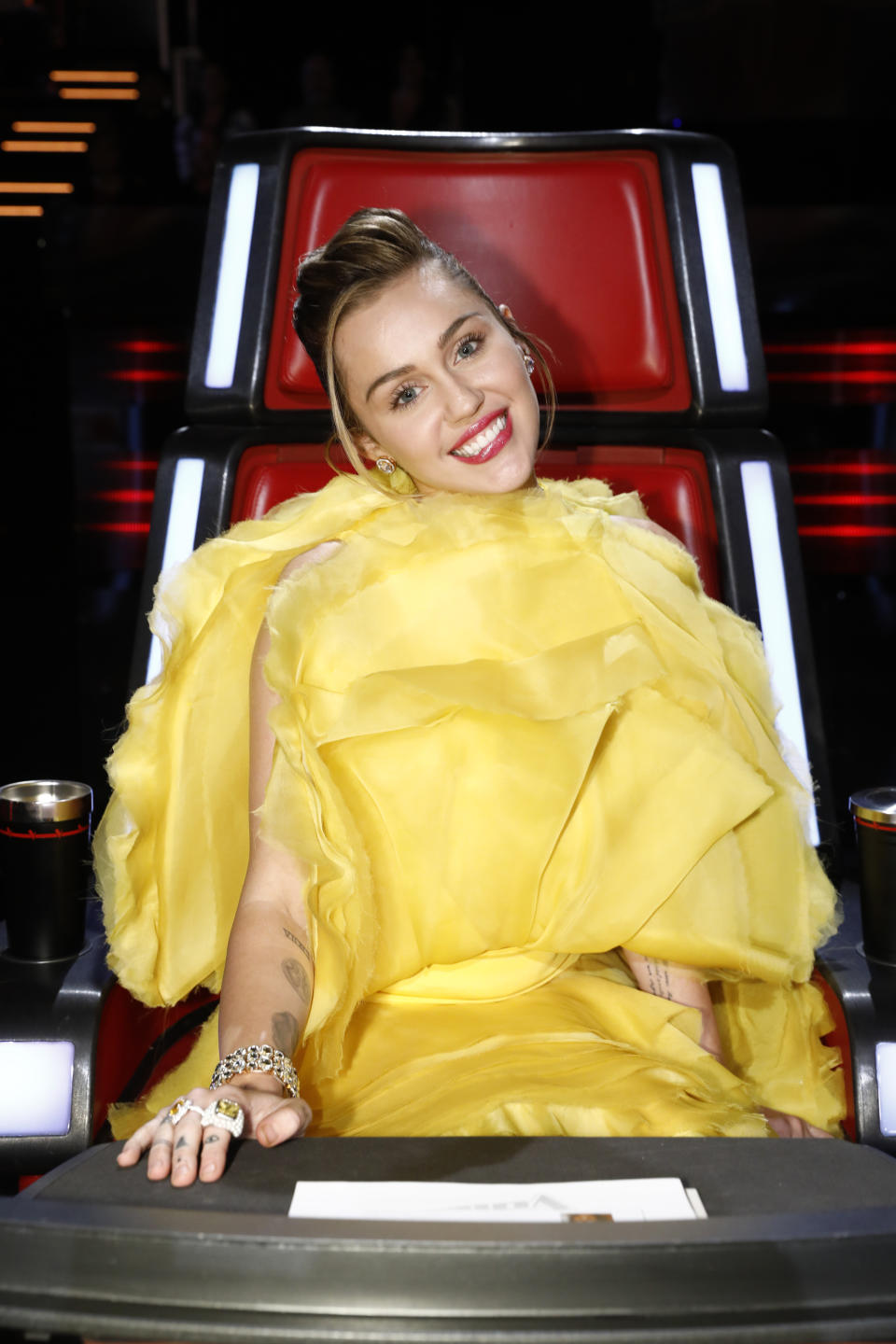 Miley Cyrus on The Voice US. (Photo by: Trae Patton/NBCU Photo Bank/NBCUniversal via Getty Images via Getty Images)