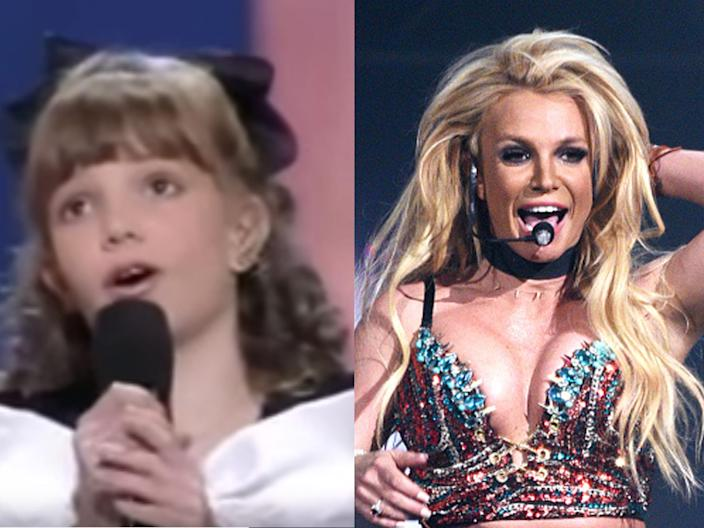 """An 11-year-old Britney Spears on """"Star Search"""" in 1984, and Spears performing in 2018."""