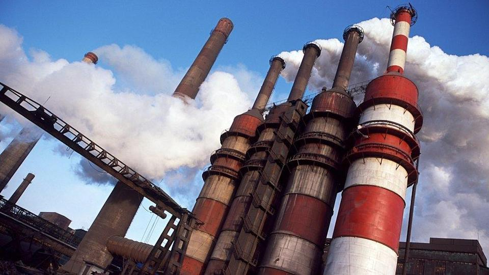 Chimneys at steel plant in China