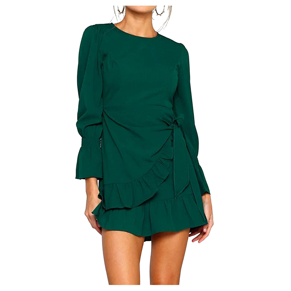 """You can't go wrong with ruffles. This deep green hue is particularly eye-catching, but you can also opt for wine red, purple, navy blue, and more instead. $25, Amazon. <a href=""""https://www.amazon.com/Womens-Sleeve-Round-Ruffles-Dresses/dp/B07GGJ8G13"""" rel=""""nofollow noopener"""" target=""""_blank"""" data-ylk=""""slk:Get it now!"""" class=""""link rapid-noclick-resp"""">Get it now!</a>"""