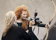 <p>Chastain had voluminous, curly hair a la Princess Merida of <strong>Brave</strong> for a Disney photo shoot.</p>
