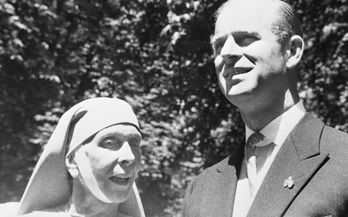 The Duke of Edinburgh is shown in a reunion with his mother, Princess Alice of Greece - Bettmann