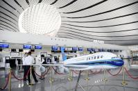 The departure lobby is seen at the new Daxing International Airport ahead of the 70th founding anniversary of the People's Republic of China in Beijing, China Wednesday, Sept. 25, 2019.(Naohiko Hatta/Kyodo News via AP)