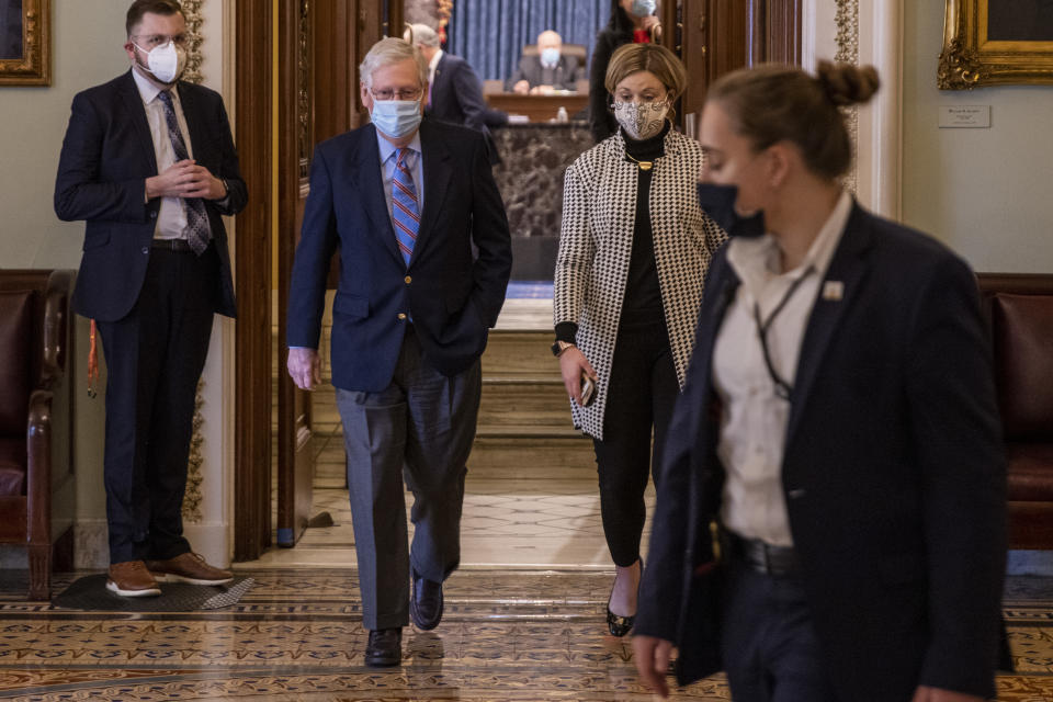 Senate Minority Leader Mitch McConnell leaves the Senate chamber on March 6. (Tasos Katopodis/Getty Images)