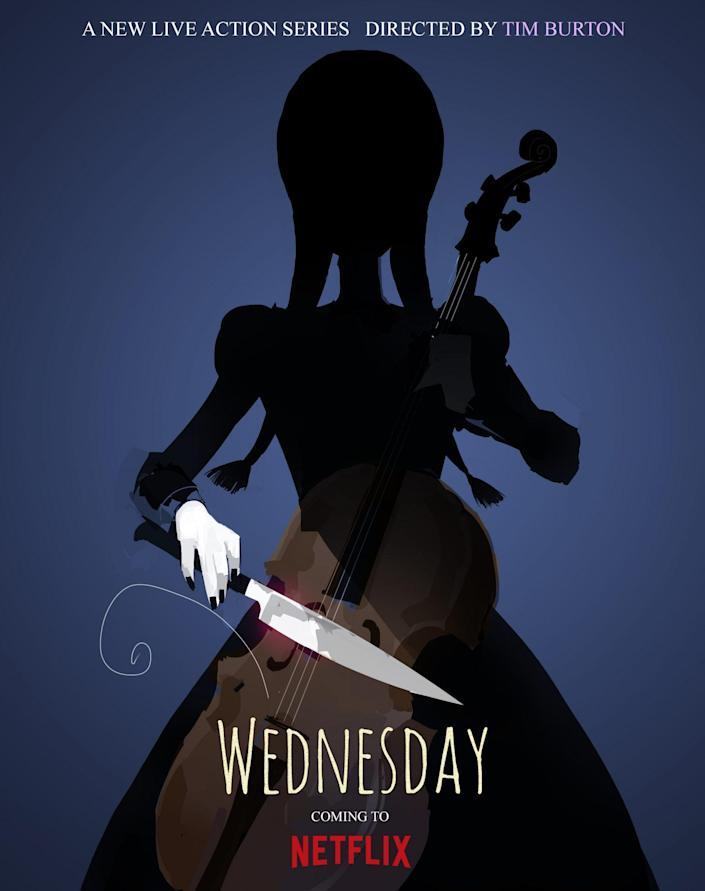 Key art for Netflix's upcoming Wednesday Addams series, simply titled Wednesday.