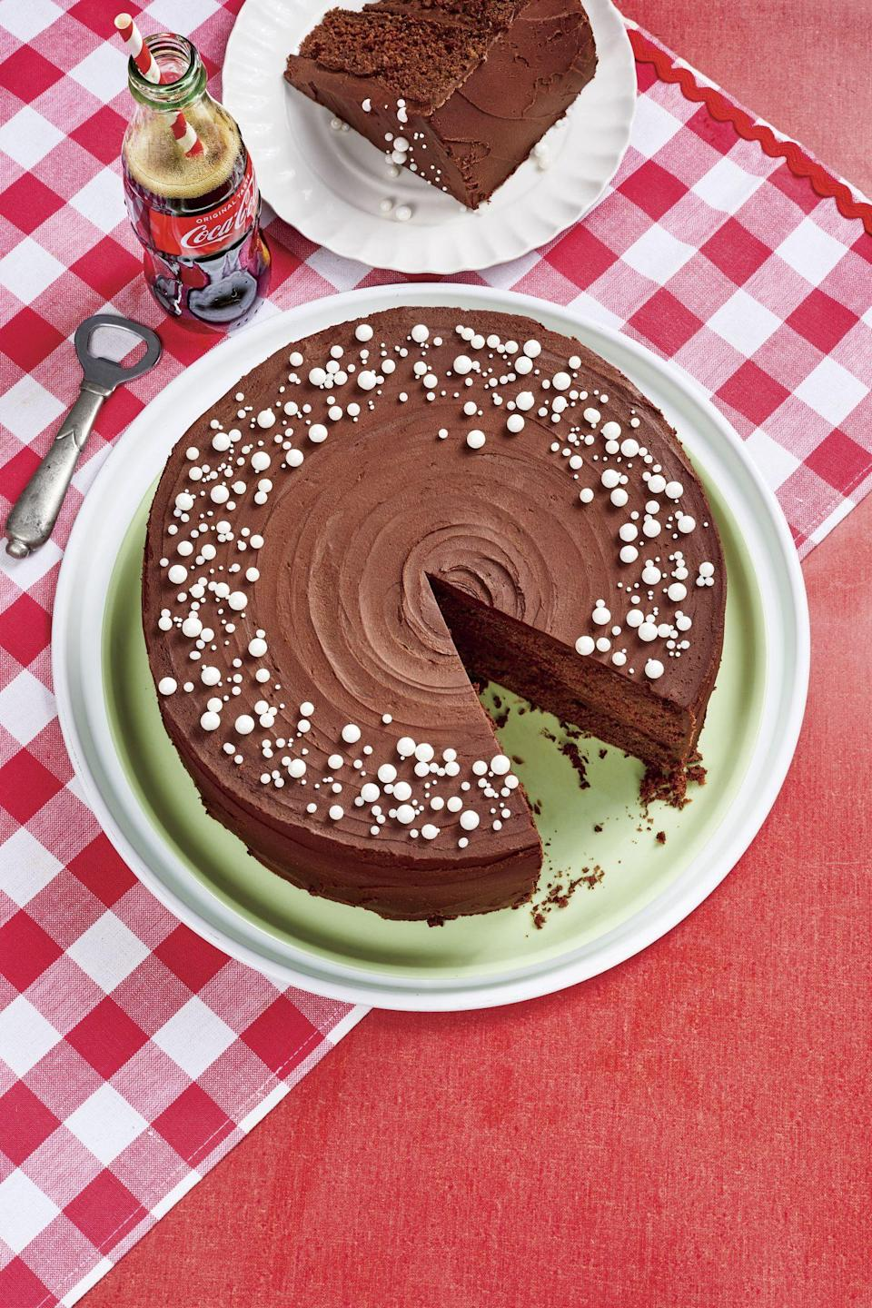 "<p><strong>Recipe: <a href=""https://www.southernliving.com/recipes/coca-cola-chocolate-cake"" rel=""nofollow noopener"" target=""_blank"" data-ylk=""slk:Coca Cola Chocolate Cake"" class=""link rapid-noclick-resp"">Coca Cola Chocolate Cake</a></strong></p> <p>They'll be amazed that their favorite soft drink can actually be used to make a decadent chocolate cake.</p>"