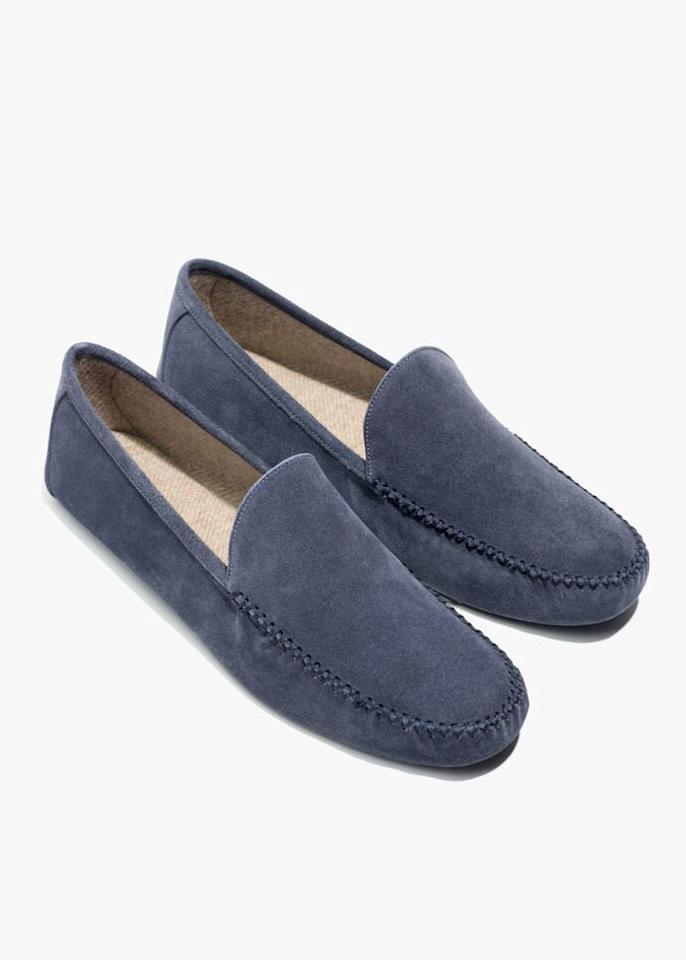 """<p><strong>Loro Piana</strong></p><p>loropiana.com</p><p><strong>$690.00</strong></p><p><a href=""""https://us.loropiana.com/en/p/man/accessories/robes-%26-slippers/maurice-FAC5526?colorCode=ME07"""" target=""""_blank"""">Shop Now</a></p><p>Perhaps the most luxurious men's slipper, this blue suede pair puts other slippers to shame. The best part? The house shoes are lined with Loro Piana's famed cashmere. </p>"""