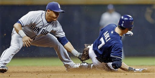 Milwaukee Brewers' Norichika Aoki slides ahead of the tag by San Diego Padres' Everth Cabrera on a double in the fifth inning of a baseball game Friday, June 8, 2012, in Milwaukee. (AP Photo/Tom Lynn)