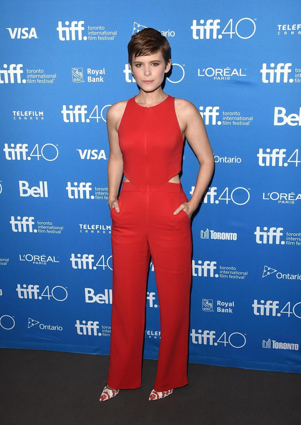 Kate Mara in an A.L.C. Chandler Open Back Jumper at 'The Martian' press conference at the 2015 Toronto International Film Festival at TIFF Bell Lightbox.