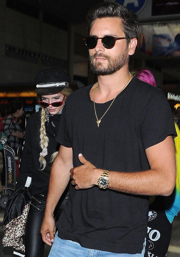 Bella Thorne and Scott Disick, who want us to think there is something going on between them, at LAX together on May 22.(Photo: BACKGRID)