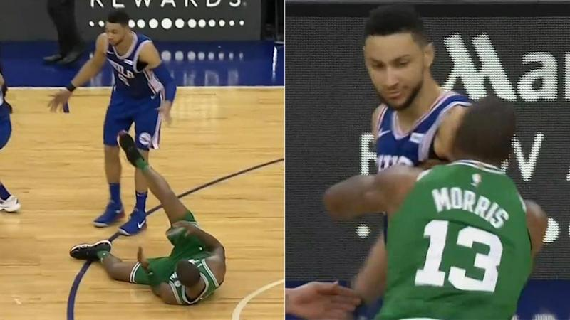 Simmons lays out Morris, before the Celtics star reacts. Pic: ESPN
