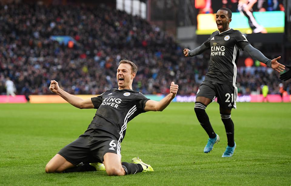 BIRMINGHAM, ENGLAND - DECEMBER 08: Jonny Evans of Leicester City celebrates after scoring his team's third goal during the Premier League match between Aston Villa and Leicester City at Villa Park on December 08, 2019 in Birmingham, United Kingdom. (Photo by Michael Regan/Getty Images)
