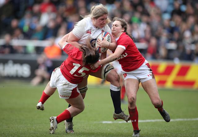 England's Poppy Cleall scored a hat-trick against Wales at the Twickenham Stoop