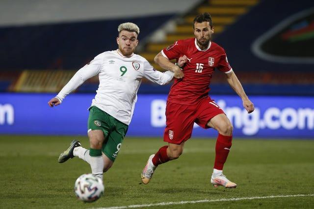 Republic of Ireland striker Aaron Connolly (left) was forced to withdraw from the squad because of injury