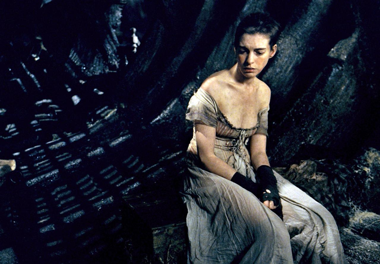 """After going on a cleanse and subsisting on dried oatmeal paste squares, Anne Hathaway took off 25 pounds to play Fantine in """"Les Miserables."""" """"The idea was to look near death. Looking back on the whole experience -- and I don't judge it in any way -- it was definitely a little nuts,"""" said Hathaway."""