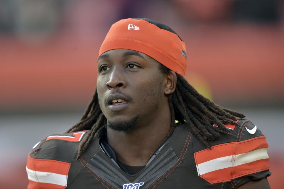 Cleveland Browns running back Kareem Hunt walks on the field at halftime of an NFL football game against the Miami Dolphins, in Cleveland. Browns running back Kareem Hunt was cited for a traffic violation on Tuesday, Jan. 21, 2020, in Rocky River, Ohio and during the stop police officers found marijuana in his vehicle. (AP Photo/David Richard, File)