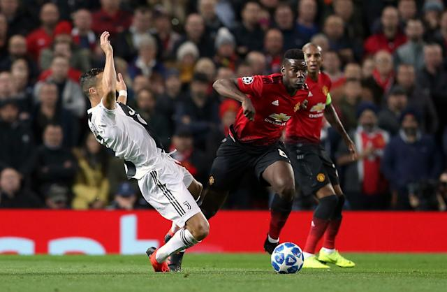 Manchester United's Paul Pogba gets away from Ronaldo but it was the veteran Juventus star who came out on top